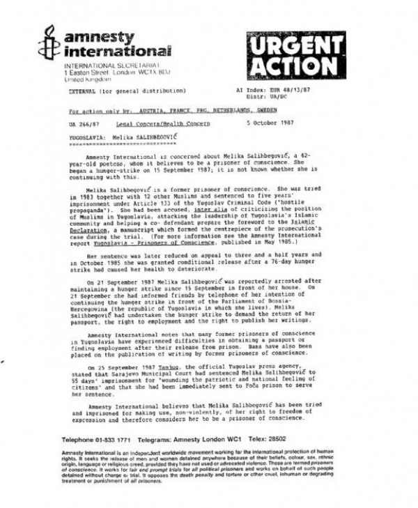 AMNESTY INTERNATIONAL - URGENT ACTION